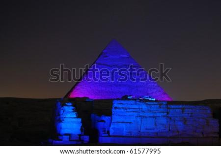 Pyramid of Khafre at Night
