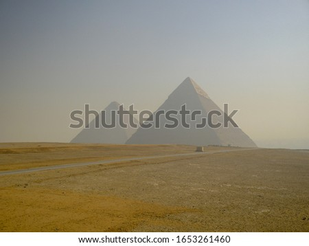 Pyramid of Khufu (Great Pyramid of Giza) and the Pyramid of Khafre at Giza pyramid complex, Cairo, Egypt