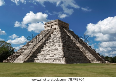 Pyramid of Kukulcan (El Castillo) at Chichen Itza, Mexico on a sunny winter day.