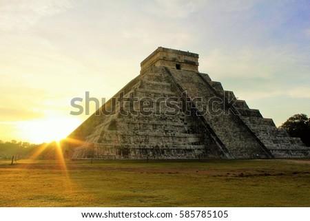 Shutterstock Pyramid of Kukulkan in Chichen Itza during Sunrise