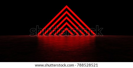 Pyramid of luminous red stripes. 3D Render