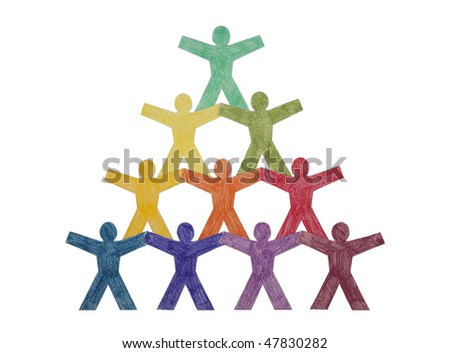 Pyramid of paper cut-out people with clipping path