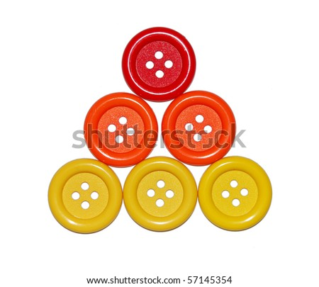 pyramid of six colored buttons isolated on white background