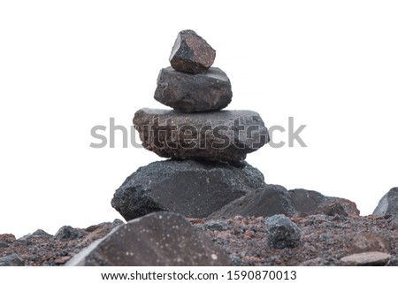 pyramid of stones on a white background