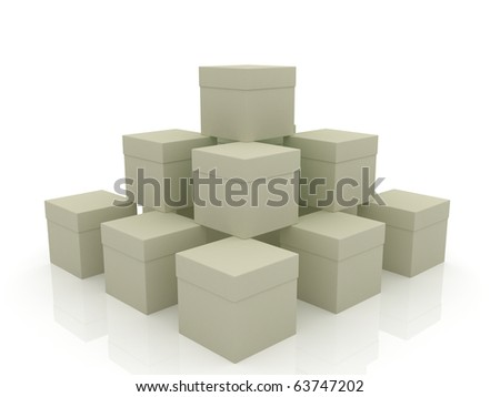 Pyramid of the gray boxes on the smooth background