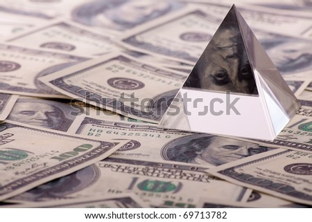 pyramid on dollars. macro close-up