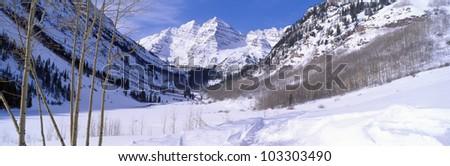 Pyramid Peak and Maroon Bells in winter, near Aspen, Colorado
