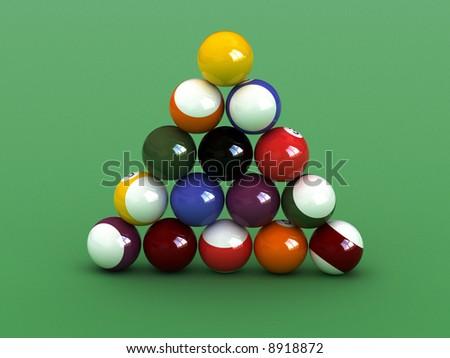 Pyramid  shaped  pool balls. close up billiard balls.
