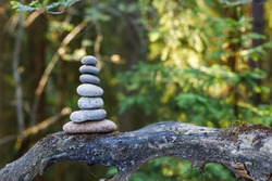 Pyramid stones balance on a tree trunk in the forest. Pyramid in focus, forest background is blurred.