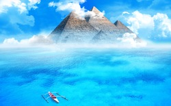 Pyramid structure in the middle of an ocean. Weird mysterious place concept.