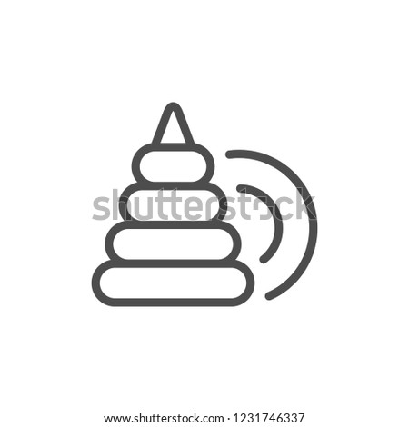 Pyramid toy line icon isolated on white