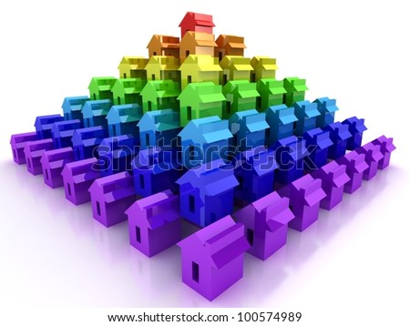 Pyramide from rainbow houses