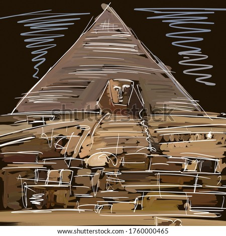 Pyramids and Sphinx in Egypt. Modern abstract impressionism in the form of a sketch. The painting is made in oil and acrylic on a smooth canvas.