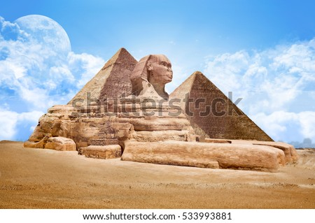 Pyramids Egypt with Great Sphinx #533993881