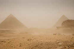 Pyramids, Sand Storm, Egypt