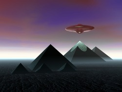 Pyramids. The Egyptian pyramids. UFO above the pyramids.