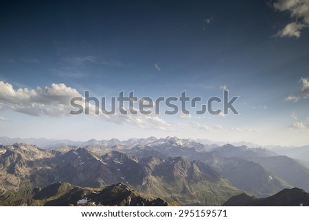 pyrenees from pic du midi observatory summit at 2800m in france