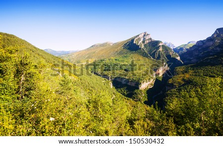 Pyrenees Mountains landscape - Anisclo Canyon in summer. Huesca