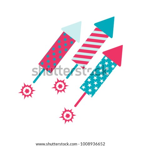 Pyrotechnic rockets of the festive fireworks. Flat cartoon illustration. Objects isolated on white background.