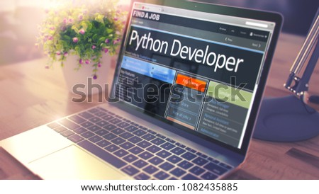 Python Developer - Job Find Concept. 3D Illustration.
