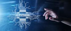 Python high-level programing language. Application and web development concept on virtual screen.