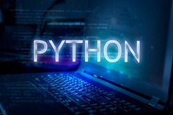 Python inscription against laptop and code background. Learn python programming language, computer courses, training.