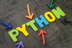 Python modern programming language for software development or application concept, multi color arrows pointing to the word Python at the center of black cement chalkboard wall.