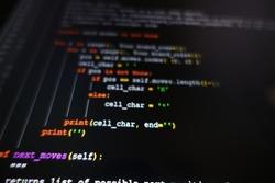 python programing code dark colorful blurry background