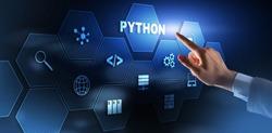 Python Programming Language. Programing workflow abstract algorithm concept on virtual screen.
