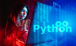 Python programming language. Python developer. The girl is sitting at a laptop next to the inscription Python. Computer language. Programming training.