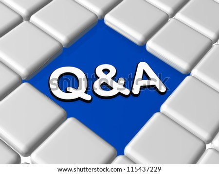 q&a - 3d question and answer sign over blue between grey boxes