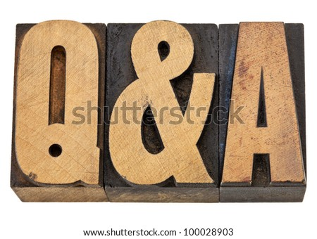 Q&A - questions and answers acronym - isolated text in vintage letterpress wood type