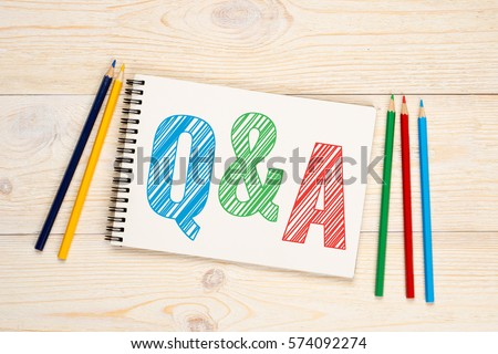 Q&A, questions and answers with colorful pencils concept