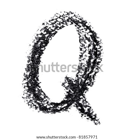 Q - Hand-written alphabet isolated over the white background