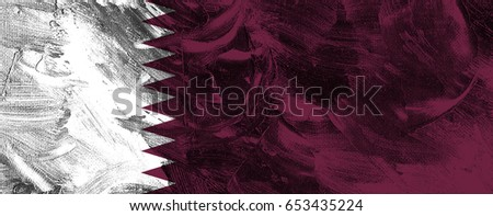 Qatar flag grunge background. Background for design in country flag