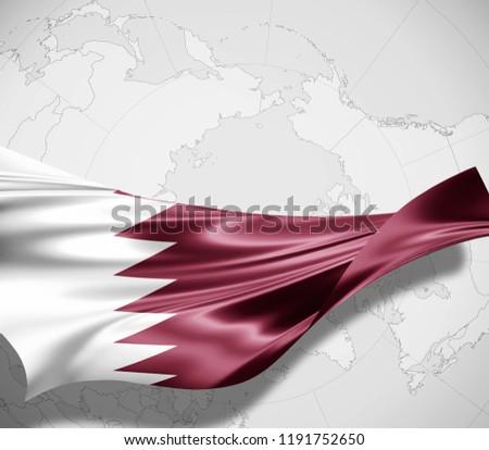 Qatar flag of silk and world map background -3D illustration
