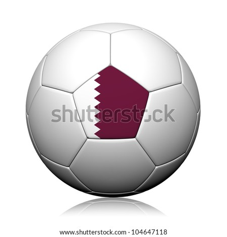 Qatar Flag Pattern 3d rendering of a soccer ball