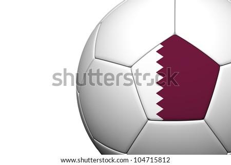 Qatar Flag Pattern 3d rendering of a soccer ball