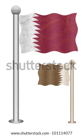 Qatar flag waving on the wind. Flags of countries in Asia. Mulberry paper on white background.