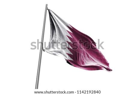 QATAR Flag waving white background