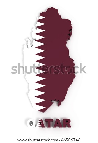 Qatar, map with flag, isolated on white with clipping path, 3d illustration