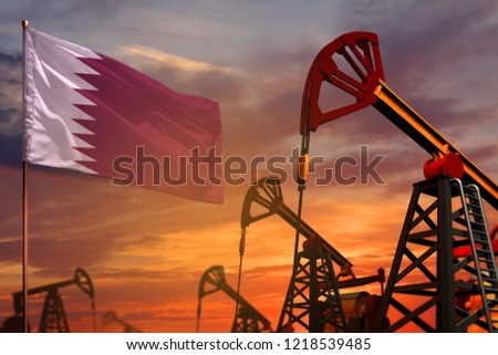 Qatar oil industry concept, industrial illustration. Qatar flag and oil wells and the red and blue sunset or sunrise sky background - 3D illustration