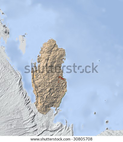 Shaded relief map. Surrounding