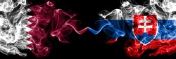 Qatar vs Slovakia, Slovakian smoky mystic flags placed side by side. Thick colored silky abstract smoke flags.