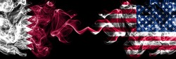 Qatar vs United States of America, American, USA smoky mystic flags placed side by side. Thick colored silky abstract smoke flags.