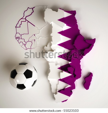 Qatari flag on map of Africa with national borders - stock photo