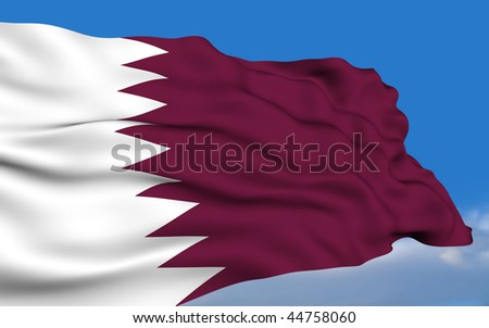 Qatari flag waving on wind