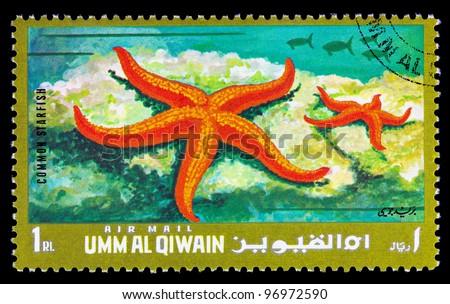 QIWAIN - CIRCA 1972: A stamp printed in Emirate Qiwain shows marine animal Common starfish, circa 1972