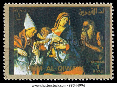 "QIWAIN - CIRCA 1972: A stamp printed in Umm al Quiwain shows Jesus Christ,series of ""famous scenes from the life of Jesus Christ"", circa 1972"