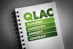 QLAC - Qualified Longevity Annuity Contract acronym on notepad, business concept background
